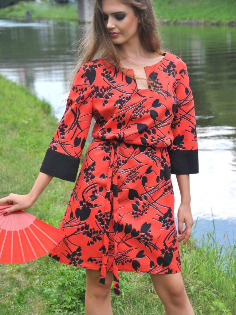 Fotografie pro model – Košilové červené šaty