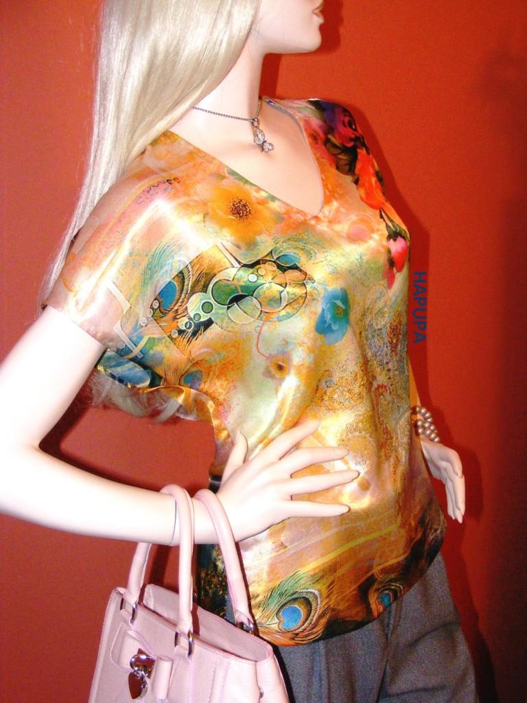 Fotografie pro model – Saténová žlutá halenka