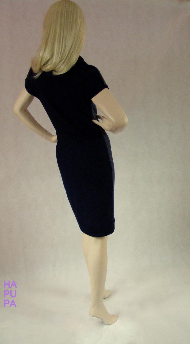 Modré úpletové šaty sroláčkem