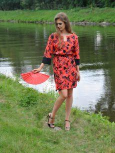 HAPUPA Košilové šaty červenočerné