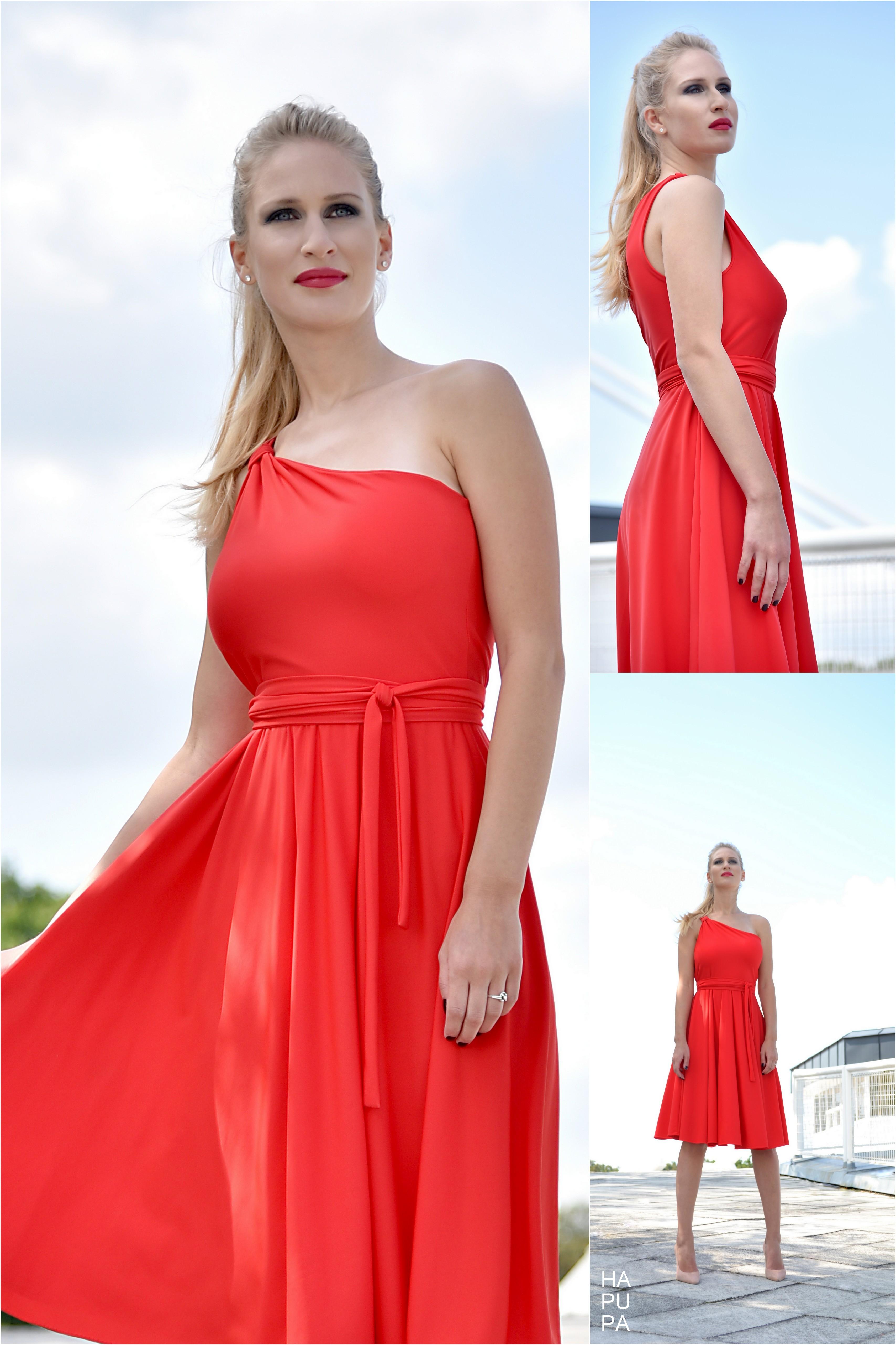 Fotografie pro model – Červené šaty najedno rameno