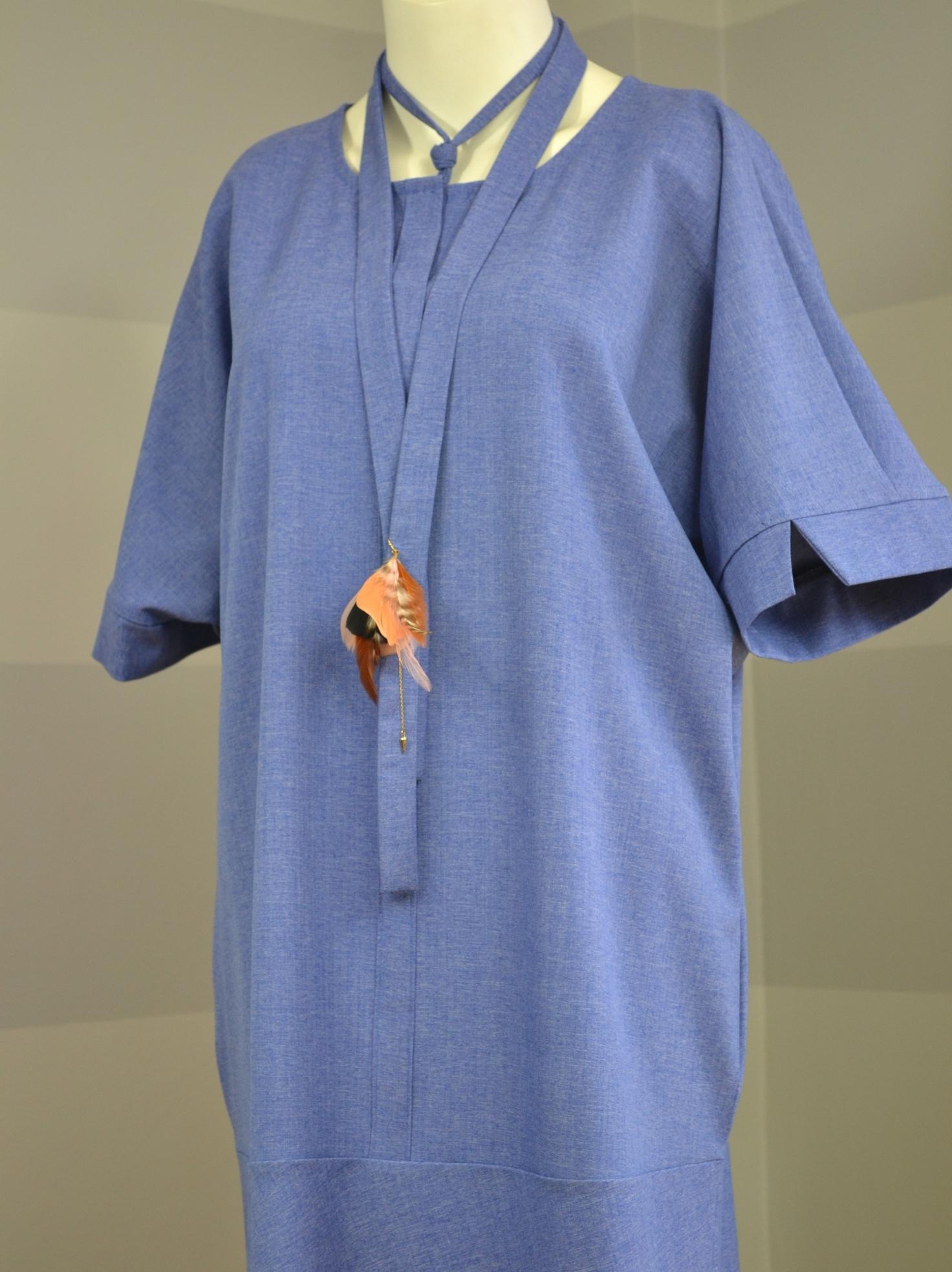 Světlemodré košilové šaty