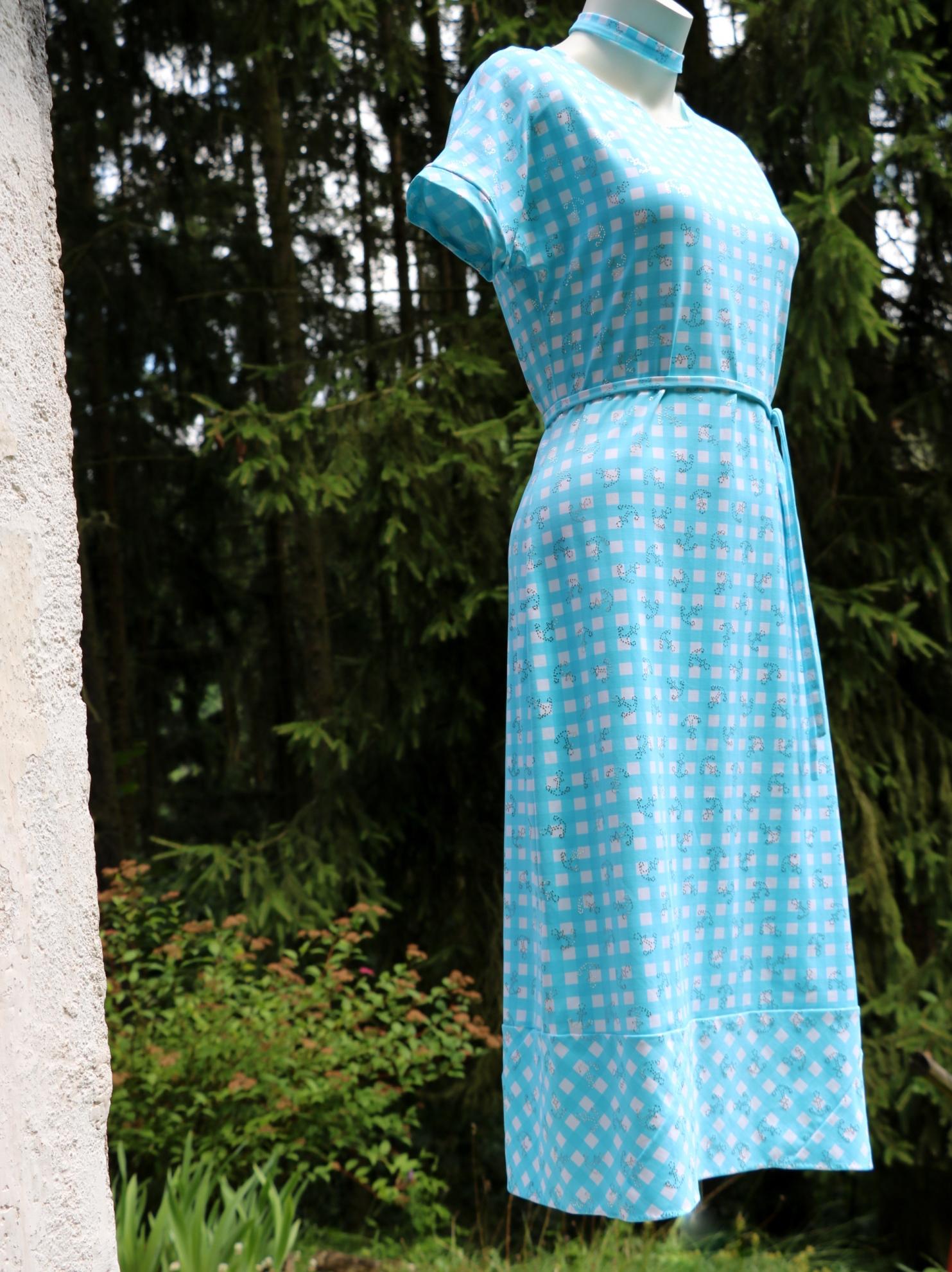 Tyrkysové šaty vichy