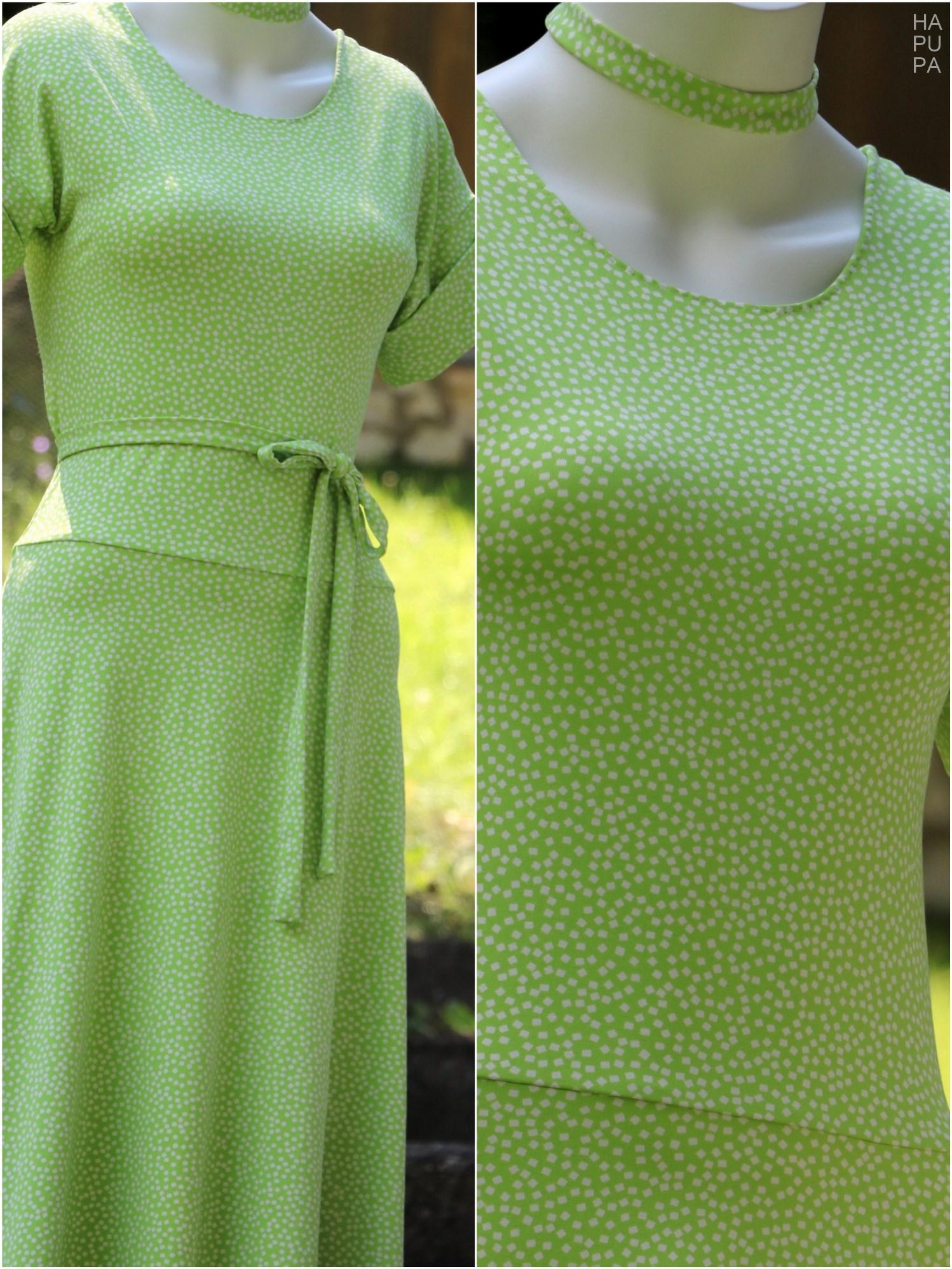 Fotografie pro model – Zelené šaty skostičkami